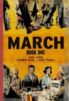 """Nonfiction/Gr.8 and up. """"March is a vivid first-hand account of John Lewis' lifelong struggle for civil and human rights, meditating in the modern age on the distance traveled since the days of Jim Crow and segregation. Rooted in Lewis' personal story, it also reflects on the highs and lows of the broader civil rights movement."""