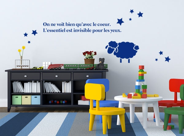 Une citation d 39 antoine de st exupery illustr d 39 un mouton - Chambre d enfant original ...
