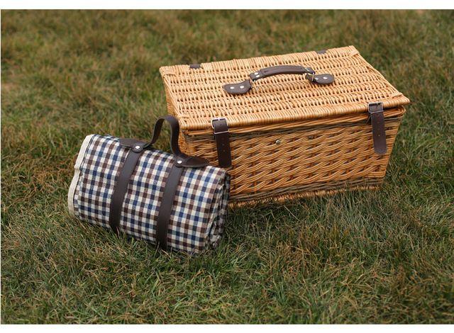 Открытый плетеная корзина для пикника полностью на подкладке препятствовать с проверка пикник одеяло и аксессуары бесплатная доставка