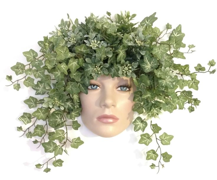 Hand painted wall mask with variegated ivy by ManneqMomDesigns on Etsy