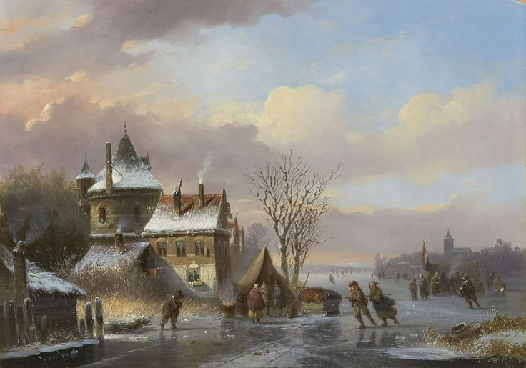 Jacobus van der Stok (1794-1864) A frozen canal with skaters and a koek-en-zopie, oil on panel 30.7 x 43.8 cm., signed l.l. Collection Simonis & Buunk, The Netherlands.