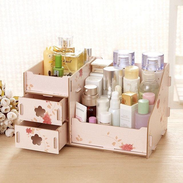 Hoomall Wooden Storage Box Jewelry Container Makeup Organizer Case Handmade DIY Assembly Cosmetic Organizer Wood Box For Office