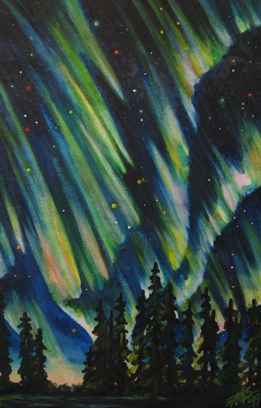 "NORTHERN LIGHTS original acrylic painting on 12"" x 12"" stretched canvas."
