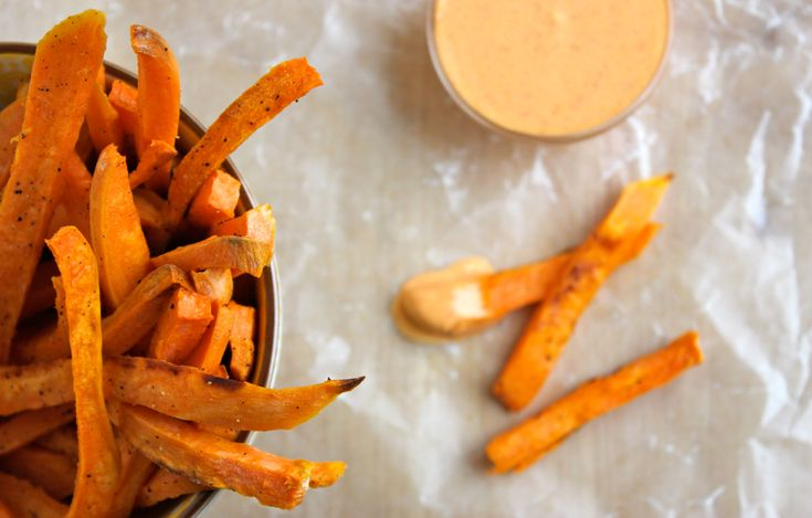 Sweet Potato Fries with Sriracha Crème Fraîche