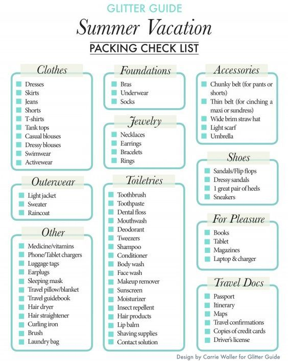 packing for vacation list