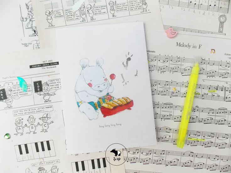 Hidup ini penuh dengan musik! :)   Riang Sang Badak memainkan gamelannya dengan suara merdu dan hati senang.