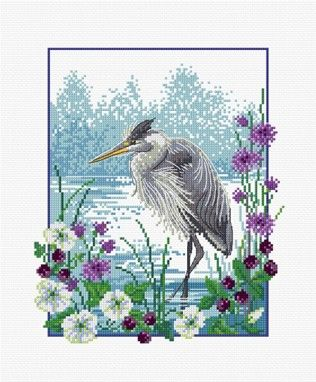 LJT031 Heron | Lesley Teare Needlework and Cross Stitch Chart Designs
