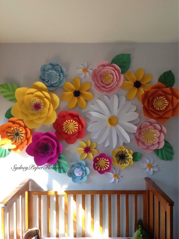 Paper flower backdrop - SECRET GARDEN   Great for a nursery/kids room decoration, Birthday party or Christening backdrop, for wedding or any