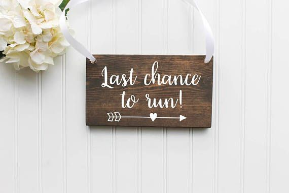 This hand painted Last Chance To Run Wooden Sign sign is the perfect sign for your little ring bearer! You can choose to have this design with or without the arrow. Ribbon/ Twine will come in a long length to be adjusted to fit your little one(s). Please send me a message if you have any