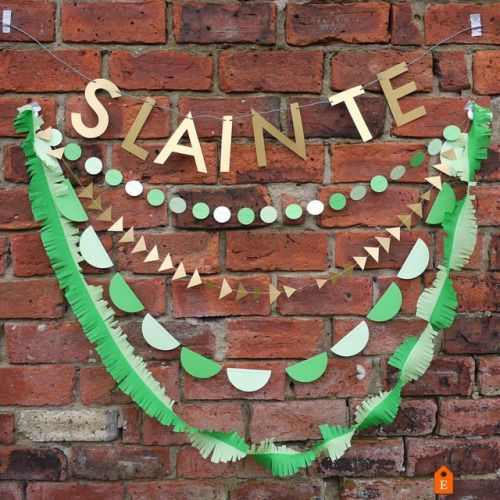 🍀 There's still a few days left to get ready for St. Patrick's day - SLAINTE and KISS ME I'M IRISH letter banners with green and gold handmade decor! 💚