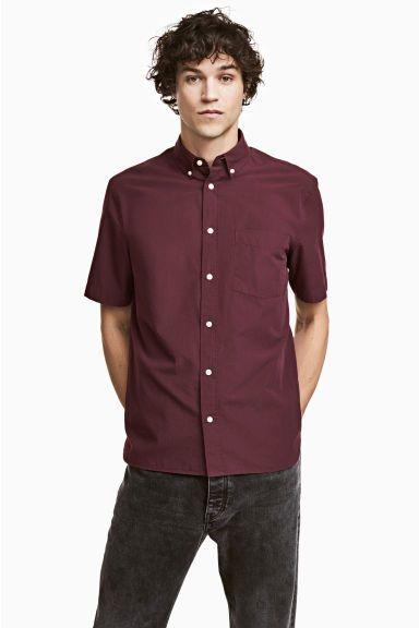 Camisa manga curta Regular fit - Bordeaux - HOMEM | H&M PT 1