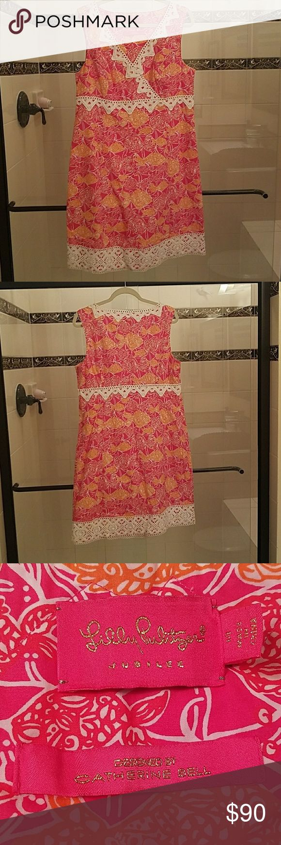 Lily Pulitzer Katherin Bell Dress Size 14 Orange and pink fish with lace. Never worn Lilly Pulitzer Dresses Midi