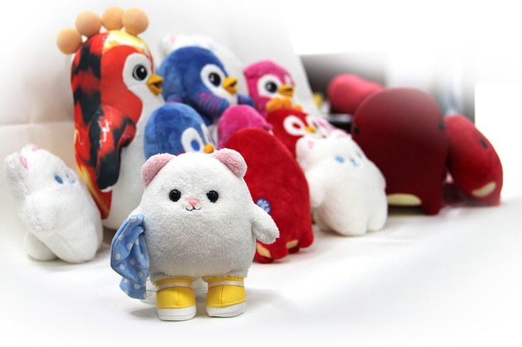 All of the soft toys together, NFC toys and gift toys.