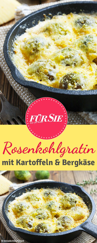 Rosenkohl muss nicht immer trocken auf dem Teller herumkullern. Macht doch mal einen Auflauf daraus! Mit Kartoffeln, Thymian und Bergkäse zaubern Sie ein saftiges und würziges Gratin.