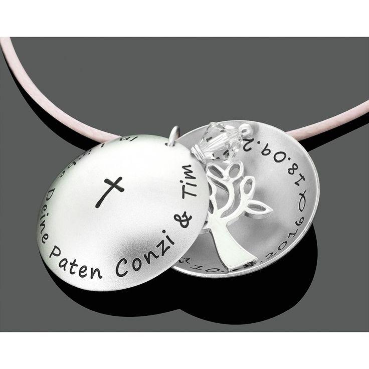 Eine besondere Designer Taufkette (Taufmedaillon) mit Gravur. In dem Medaillon hängt ein schöner Lebensbaum und ein Swarovski Kristall.Das Taufmedaillon wird komplett aus 925 Sterling Silber exklusiv für Sie hergestellt.