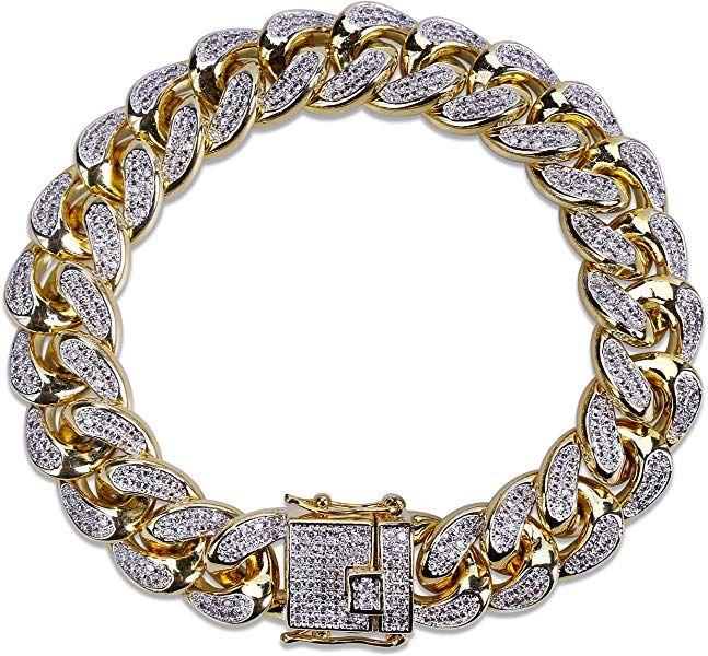 Amazon Com Shiny U 14mm 14k Gold Plated Hip Hop Iced Out Cz Lab Diamond Miami Cuban Link Chain Bracelet Bracelets For Men Mens Chain Bracelet Cuban Link Chain
