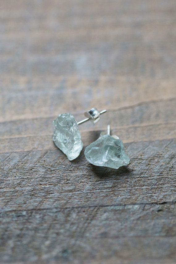 Raw Aquamarine Studs Blue Earrings Raw Crystal by AmuletteJewelry