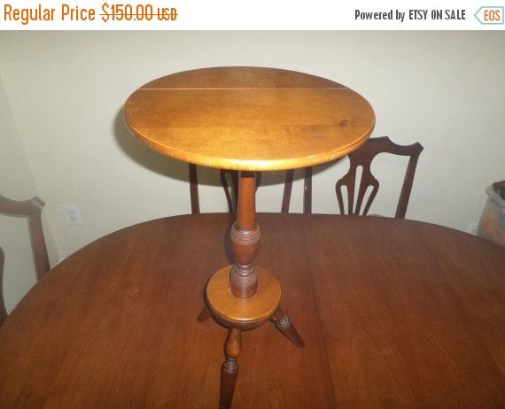 Mon Thurs ONLY Save 50% Stunning Vintage Solid Maple Tri Leg Round Side  Table