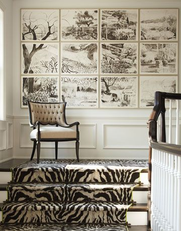 .artworkDecor, Ideas, Stairs Land, Art, Stairs Runners, Zebras Prints, Animal Prints, Stair Runners, Gallery Wall