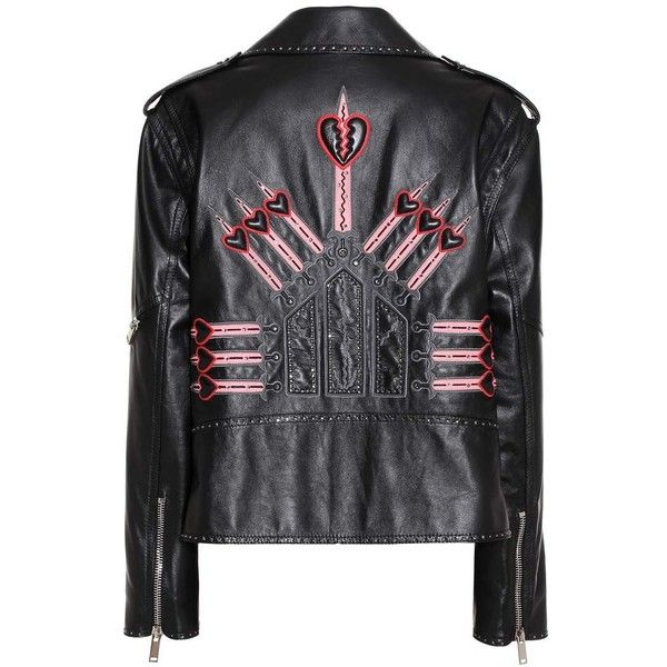 Valentino Embellished Leather Jacket (23.760 BRL) ❤ liked on Polyvore featuring outerwear, jackets, valentino, black, valentino jacket, genuine leather jackets, leather jackets, real leather jackets and 100 leather jacket