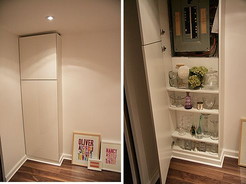 hide electric box with cabinet is what I am thinking, but I can't make it go all the way to the floor