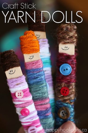 Make the most adorable little dolls out of craft sticks, yarn and a few buttons. They're SO cute, and the process is seriously addictive! Kids LOVE them!  Great craft for fine motor development, and a super way to use up scraps of yarn or wool! - Happy Hooligans