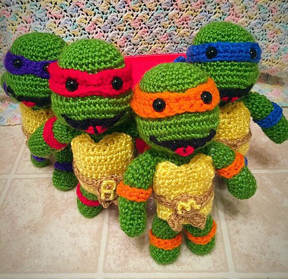 Ninja Turtle Crochet Amigurumi : TMNT Ninja Turtle Crochet doll set by TheCrochetingRaven ...
