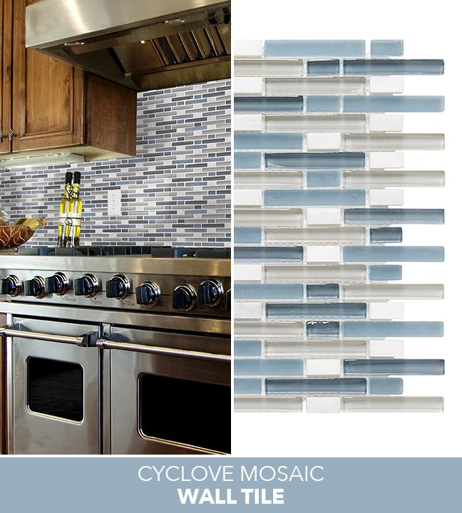 Jeffrey Court Cyclove 10.875 In. X 13.25 In. X 8 Mm Glass/Stone Mosaic Wall  Tile. Blue BacksplashBacksplash IdeasKitchen ...