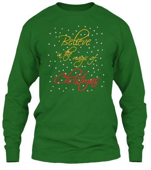 Believe In Christmas Irish Green Long Sleeve T-Shirt Front
