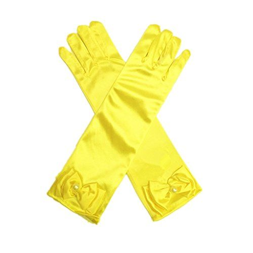 DreamHigh Kids Stretch Satin Long Finger Dress Gloves for Girl Children Party