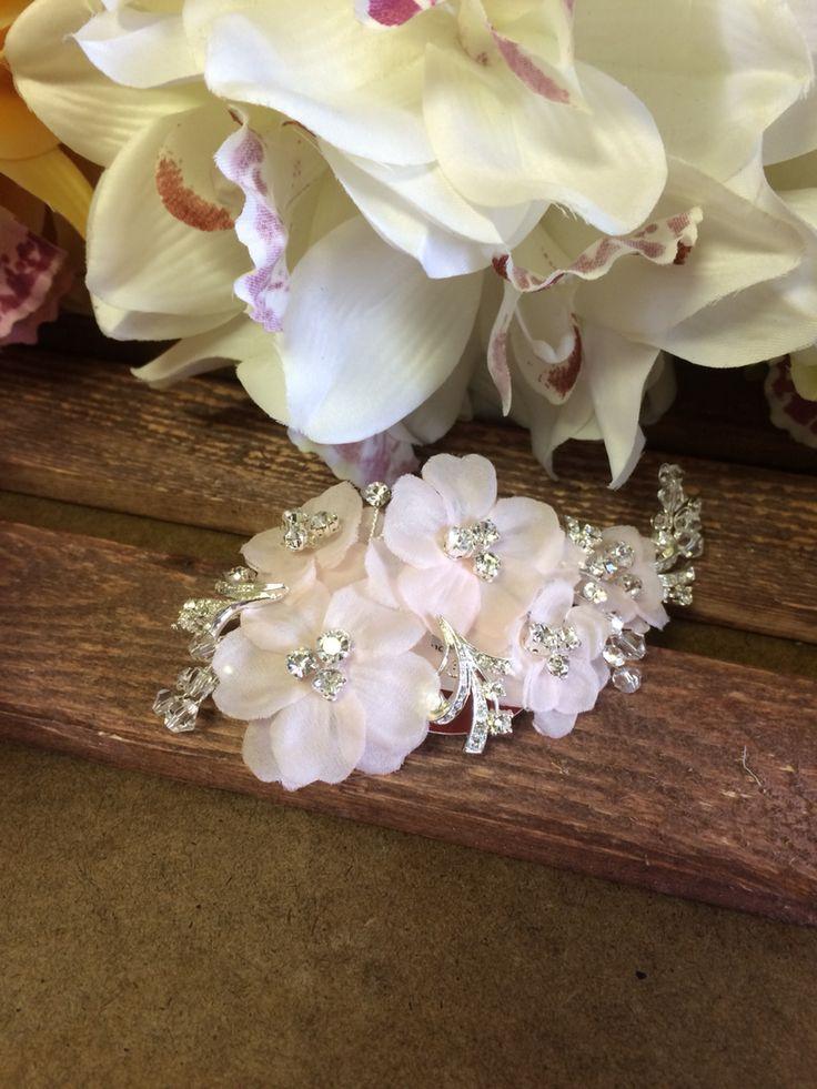 blush hair clip #bridal #bling #wedding #accessory