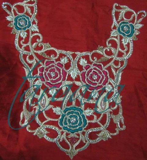 Hand embroidered yoke for anarkalis saree blouses salwar