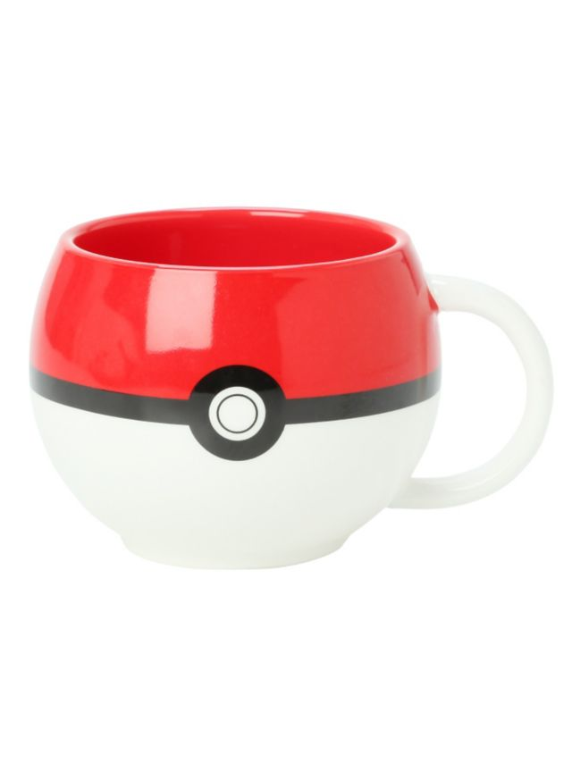 Ceramic Pokemon mug with Poke Ball figural design.