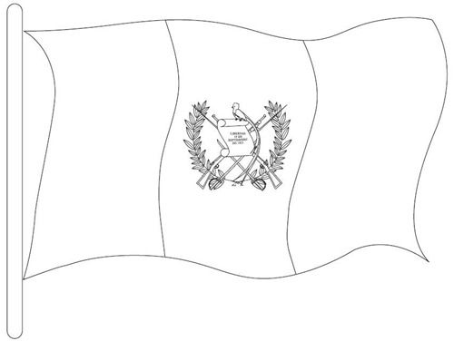 National Symbol: Guatemalan Flag Coloring Page #