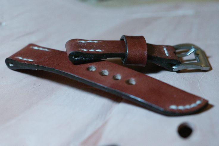 22mm natural hand made leather strap…