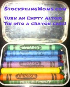 #DIY :: Create a travel crayon case with an empty altoid tin - no more melted crayons!  http://www.stockpilingmoms.com/2012/05/diy-create-a-travel-crayon-case-with-an-empty-altoid-tin/