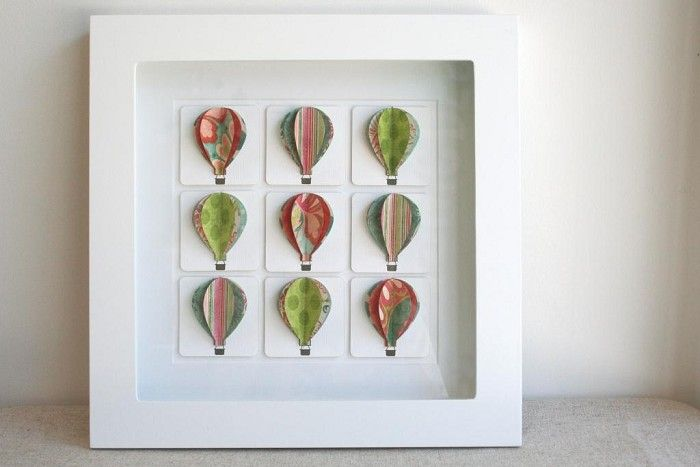 Large Shadow Box Frame - White with Hot Air Balloons - by thepapertieaffair on madeit