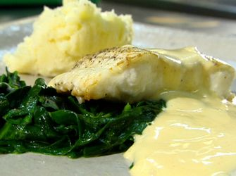 Seared catfish with hollandaise