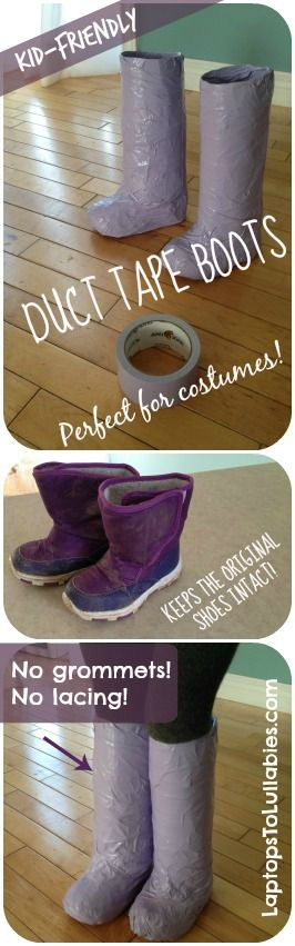 Easy #DIY duct tape boots {Perfect for #Halloween #costumes} Laptops to Lullabies  No grommets! No lacing! No wrecking your original shoes! Just cardboard, duct tape, and a secret material you definitely have in your kitchen.