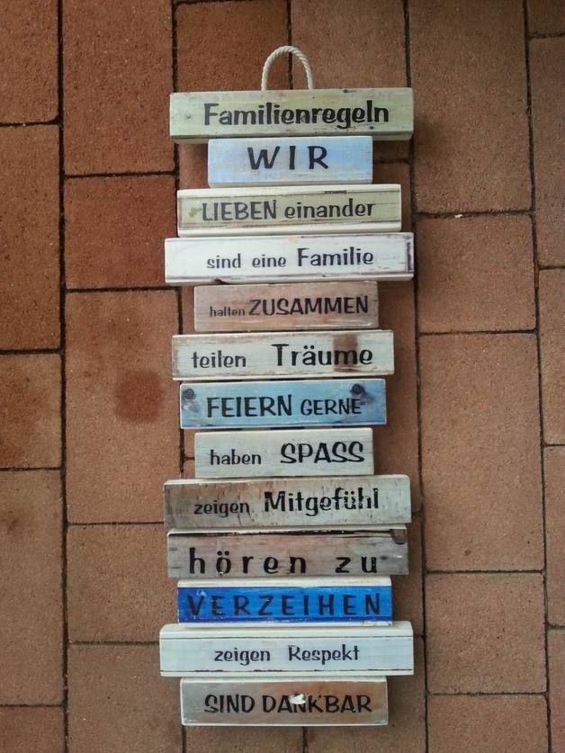 Holzschild Wanddeko Familienregeln - blau