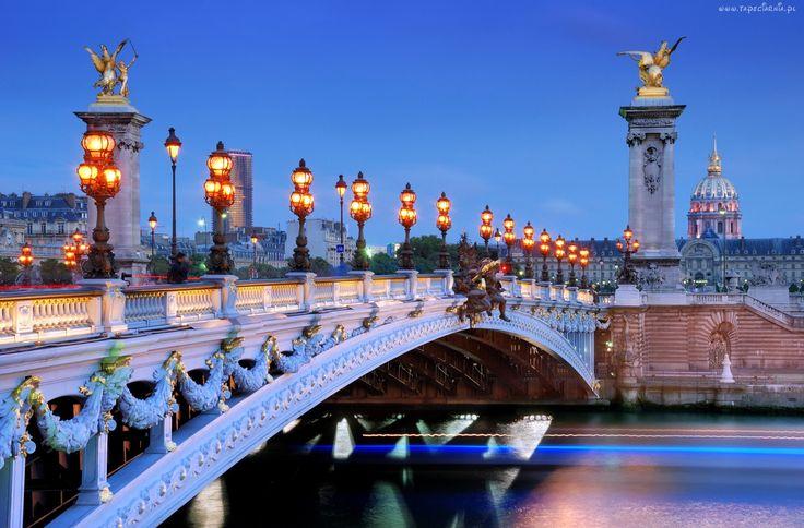 Most, Oświetlenie, Rzeka, Paryż