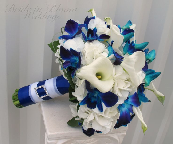 blue purple and blue orchids with calla lily and hydrangea   Blue orchid, white calla wedding bouquet