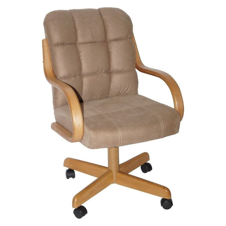Brown-Upholstered Casual Rolling Swivel Dining Chair Kitchen Decor #chair