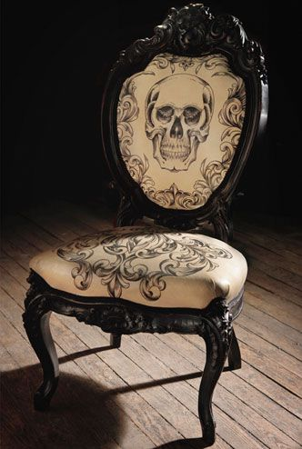 Tattoo skull chairSkull Chairs, Offices, Tattoo Artists, Vanities, Scott Campbell, House, Leather Chairs, Dining Room Chairs, Halloween