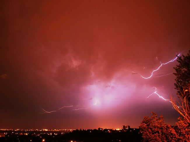 Electric storm  Posted by: Charlotte Bragg // July 13, 2012  Calgary, Alberta // Shot: July 12, 2012  on the Weather Network