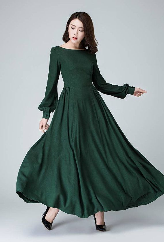 linen dress handmade, bishop sleeve dress, long sleeve dress, boat neck dress, dark green dress, maxi long dress, women dresses, custom 1454