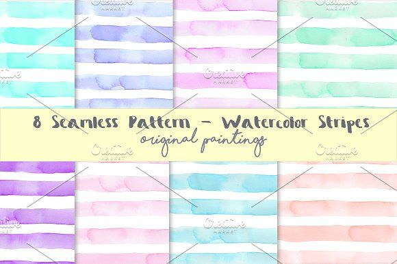 Watercolor Seamless Pattern Stripes Clip Art Set - 8 modern stripes background in original watercolor by MARAQUELA.