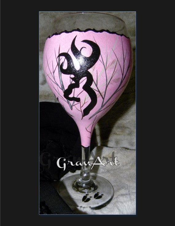 Camo Deer Tree Wine Glass Camo Pink Wine Glass Hand by GranArt