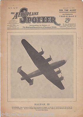 AEROPLANE SPOTTER VINTAGE WWII GRAPHIC MILITARY AVIATION MAGAZINE JAN 1945