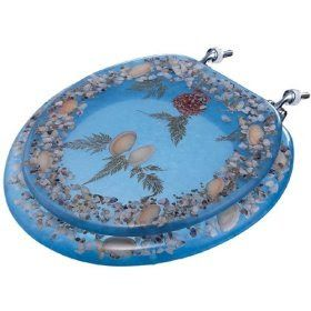 Bathroom Accessories: Kirch 4005BL Clear Blue Real Seashell Embedded Standard Toilet Seat
